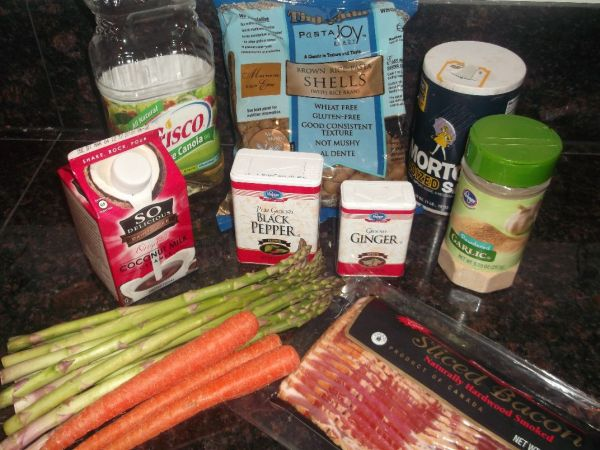canola oil, gf pasta, salt, coconut creamer, pepper, ginger, garlic, asparagus, carrots, bacon