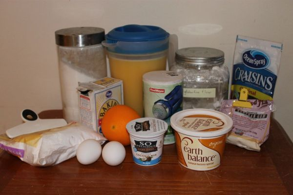 powdered sugar, sugar, orange juice, GF flour, drued cranberries, baking soda, salt, xanthan gum, eggs, coconut yogurt, DF margarine